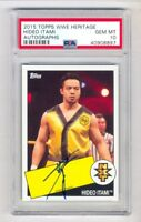 WWE 2015 Topps Heritage Short Print Auto Hideo Itami On Card PSA 10 GEM MINT