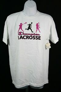 921X07 Champion C309 Youth Lacrosse Graphic Tee Shirt LG White/Pink/Black