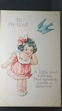 Vintage Valentine Post Card Unused Gibson Art Co To My Love A Little Bird Told