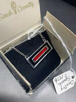 VINTAGE Sarah Coventry Silver Black Red Square Pendant Necklace 1976  New In Box