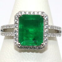 Sparkling Natural Genuine Colombian Emerald Ring Women Wedding Birthday Jewelry