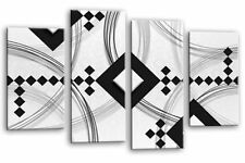 Large Abstract Art Picture Grey Black White Canvas Home Wall Print Multi 4 Panel