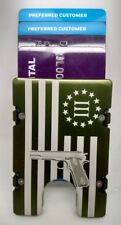 3% American Flag with Gun,  Aluminum Wallet/Card Holder,  RFID  Protection Green
