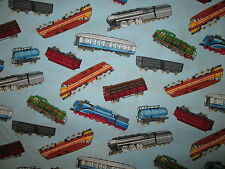 TRAINS RAILROAD MODEL TRAIN COLORS BLUE COTTON FABRIC BTHY