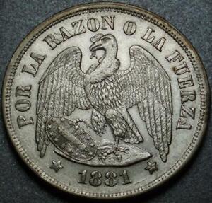 1881 CHILE >Silver PESO Crown Size BRILLIANT UNCIRCULATED White CARTWHEEL Luster