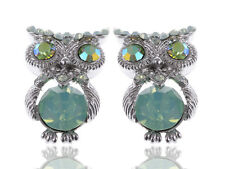 New Womens Silver Tone Pastel Mint Green Rhinestones Mini Owl Bird Stud Earrings