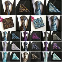 Mens Classic Floral Paisley Necktie Pocket Square Ties Handkerchief Set Lot New