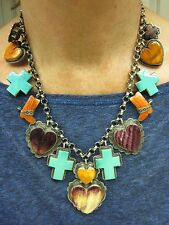 NAVAJO YAZZIE Sterling Silver TURQUOISE SPINEY OYSTER CROSS HEART CHARM Necklace