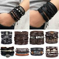 Trend Leather Wrist Band Bracelet Multi Wrap Hemp Surfer Braid Cuff Jewelry New