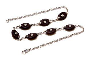 """925 Sterling Silver cubic zirconia cz wood pendant necklace 15.3g 18"""" unique"""