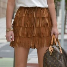 ZARA BROWN TAN REAL LEATHER SUEDE FRINGES TASSEL SKIRT BLOGGERS SIZE SMALL S