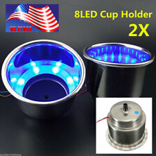 2pc 8LED Blue Stainless Steel Cup Drink Holder Marine Boat Car Camper Sea USA