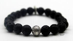 Handmade Hochwertig Personalisiert Lavastein Armband mit Edelstahlperlen #6