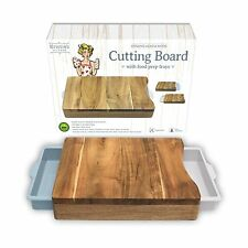 Cutting Board Organic Acacia Wood Chopping with 2 White Blue Meal Prep Container
