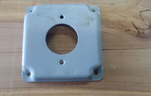 """(2) 4 x 4 box cover single receptacle Mulberry exposed work cover 1.6"""" hole"""