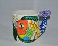 Tabletops Unlimited Vintage Pescada hand painted ceramic fish cup mug container