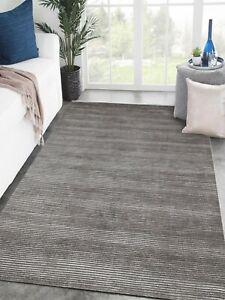 Rug Area 8x10 Viscose HandLoom Modern Soft Handmade Luxury Silk Carpet Gray Rugs