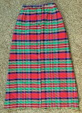 Vintage Loomtogs Quilted Red Plaid Long Maxi Skirt Sz 11-12 Union Ilgwu Made Usa