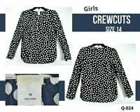 Crew Cuts Girls 14 Blouse Navy Blue Plaid Polka Dot Long Sleeve Shirt Top Cotton