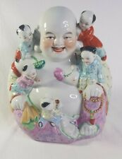 """Vintage Chinese Smiling Laughing Lucky Buddha Five Children Ceramic 10"""" Figure"""