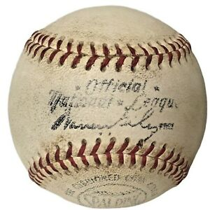 1960s Spalding  National League Game Used Baseball Warren Giles Forbes Field