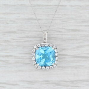 New 4.19ctw Blue Topaz Synthetic White Sapphire Halo Pendant Necklace 10k Gold