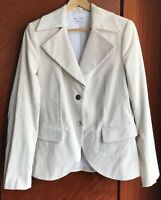 Alice Olivia Blazer Jacket Ivory Corduroy Leather Patches Coin Button Size Large
