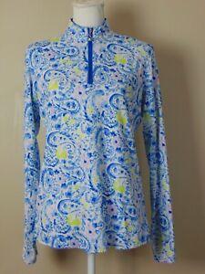 San Soleil Womens Golf Shirt Size Large UV 50 + Cooling Long Sleeve Mesh Trim