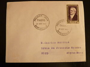 FRANCE PREMIER JOUR FDC YVERT 935    ADOLPH THIERS    30+7F     MARSEILLE   1952