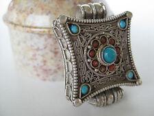 Turquoise Silver Gau Locket ~ Sterling filigree pendant