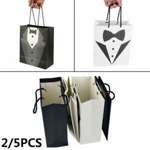 5X Paper Tuxedo Groomsmen Thank You Gift Bags Black Wedding Bridal Party Favour