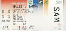 Wales v Samoa 16 Nov 2012 Cardiff RUGBY TICKET