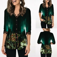 ❤Womens Floral Print 3/4 Sleeve Tops Ladies Casual O Neck Buttons Blouse T Shirt
