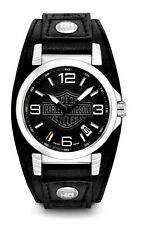 Harley-Davidson® Bulova Men's Ghost Bar & Shield Leather Wrist-Watch 76B163