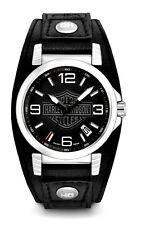 NEW Harley-Davidson® Bulova Men's Ghost Bar & Shield Leather Wrist-Watch 76B163