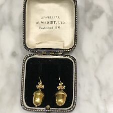 Victorian 18ct. 750. Yellow Gold Acorn & Seed Pearl Earrings. Rare....