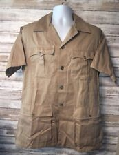 TwistTwill By Escome Mens Beige Safari Style Button Front Shirt 23.5 Inch Pit