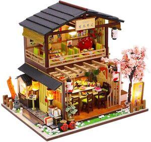 DIY Sushi Shop Wooden Miniature Dollhouse Restaurant Kids Toys Christmas Gifts