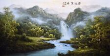 ORIGINAL ASIAN FINE ART CHINESE SANSUI WATERCOLOR PAINTING-Mountains view&Trees