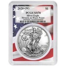 2020 (W) $1 American Silver Eagle PCGS MS70 Flag Frame