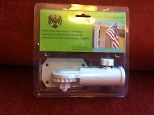 White Metal Adjustable Flag Bracket Kit Very Sturdy 6.5 x 2.4 x 2.8 Fast Ship