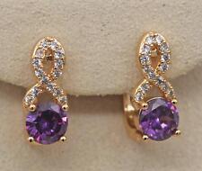 18K Gold Filled - Hollow Geometry Swirl Amethyst Topaz Zircon Pageant Earrings