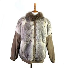 Vintage Fur Coat Womens Small Rabbit Fox Tail Removable Sleeves