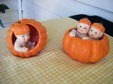 2 Miniature Fairy Garden Baby Jack O Lantern Pumpkin Ceramic Halloween Figurine