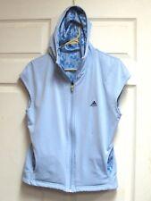 Adidas Women's Reversible Sleeveless Full Zip Hoodie Jacket Vest Sz L Light Blue