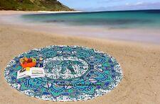 Beach Throw Yoga Mat Indian Cotton Hippie Elephant Mandala Round Green Tapestry