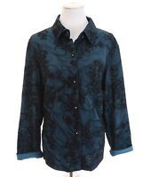 Coldwater Creek Embroidered Shimmer Button Up Blouse Top Blue Women Plus Sz 1X