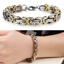MENDINO Men's 316L Stainless Steel Bracelet Byzantine Box Chain Link Gold Tone