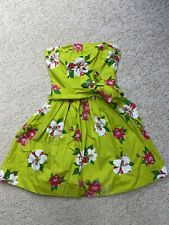 Gorgeous Hollister Womens Floral Lime Green Strapless Dress Size X-Small