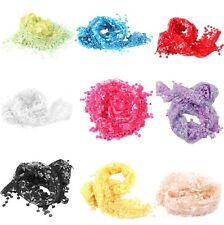 NEW! Triangle Floral Print Design Lace Sheer Shawl Tassel Veil Mantilla Scarf-LG